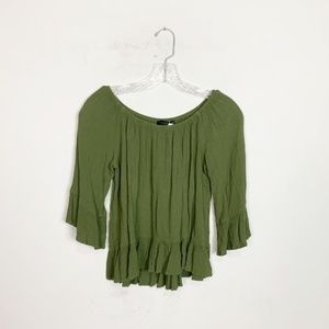 Sanctuary | olive green 3/4 sleeve blouse small